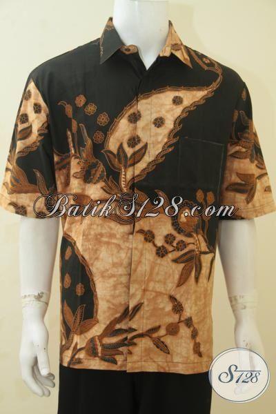 Kemeja Batik 3L Spesial Buat Lelaki Gemuk, Baju Batik Jumbo Lengan Pendek Kombinasi Tulis Klasik Membuat Penampilan Semakin Gagah, Size XXL