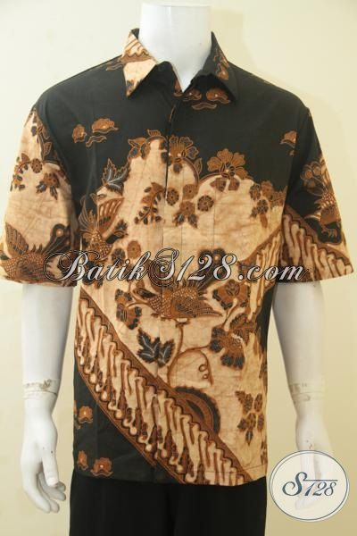 Produk Baju Batik Premium Kombinasi Tulis, Baju Batik Elegan Motif Mewah Model Lengan Pendek Cocok Untuk Seragam Kerja Pria Karir Gemuk, Size XXL