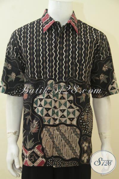 Baju Batik Pria Dewasa Ukuran XL, Baju Batik Elegan Warna Hitam Berpadu Motif Mewah Dan Di Lengkap Daleman Furing, Penampilan Pria Makin Gagah