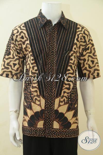 Jual Baju Lengan Pendek Istimewa, Berbahan Batik Tulis Klasik Asli Solo, Busana Batik Full Furing Membuat Penampilan Lebih Mewah, Size XL
