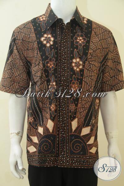 Seragam Kerja Batik Klasik Lengan Pendek Motif Matahari, Pakaian Batik Proses Tulis Lengan Pendek Pake Furing Modis Dan Berkelas, Size XL