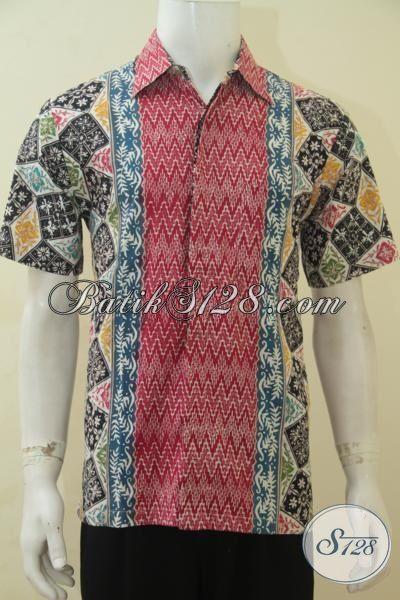 Baju Batik Lengan Pendek Modis Proses Cap Tulis, Pakaian Batik Keren Berkelas Bahan Halus Dan Adem Asli Dari Solo, Size M