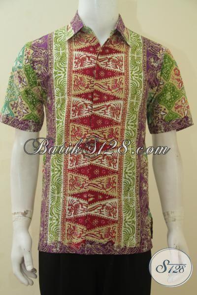 Baju Hem Batik Tiga Motif Dengan Perpaduan Warna Keren Yang Membuat Penampilan Terlihat Segar, Baju Batik Cap Tulis Trendy Size M Cocok Buat Acara Santai