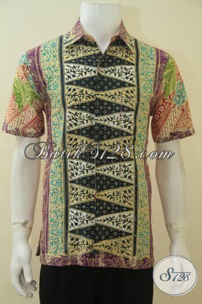 Hem Batik Tiga Motif Kesukaan Lelaki Muda, Baju Kemeja Batik Gaul Kombinasi Klasik Modern Proses Cap Tulis Tampil Makin Kece, Size M