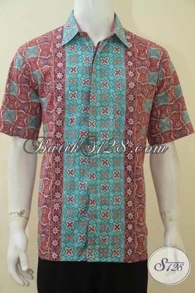 Hem Batik Seragam Kerja Cowok, Baju Batik Modis Lengan Pendek Cap Tulis, Berbahan Adem Halus Dan Nyaman Di Pakai, Size L