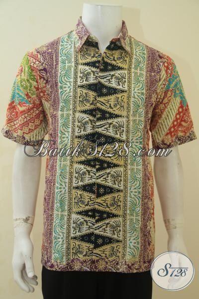 Toko Baju Batik Rujukan Para Penggila Fashion, Jual Online Busana Batik Cowok Motif Modern Proses Cap Tulis Size L, Cocok Buat Ke Kantor Dan Pesta