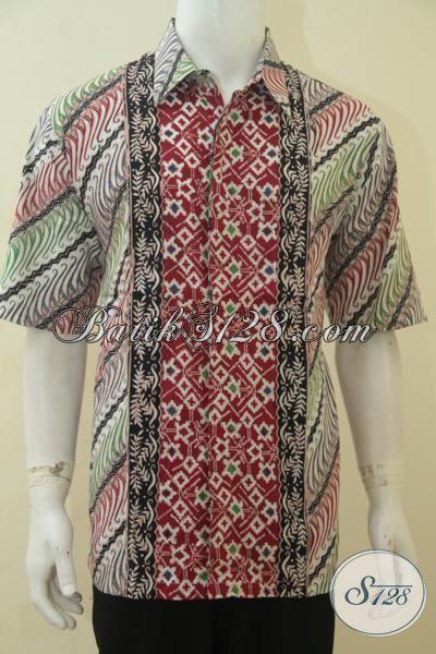 Hem Batik Parang Kombinasi Motif Modern, Baju Batik Santai Lengan Pendek Ukuran XL Pas Banget Untuk Cowok Yang Ingin Tampil Menawan
