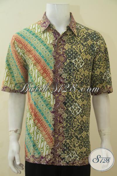 Online Shop Pakaian Pria, Jual Baju Batik Terbaru Kombinasi  Dua Motif Berpadu Aksen Yang Keren Abis, Baju Batik Elegan Membuat Pria Semakin Tampan, Size XL