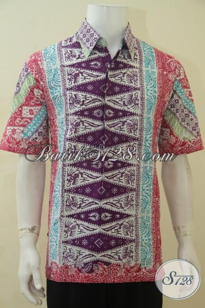 Hem Batik Cap Bledak Motif Kombinasi, Busana Batik Elegan Dan Modern, Baju Batik Lengan Pendek Spesial Untuk Kerja Dan Pesta, Size L