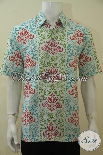 Baju Batik Gaul Motif Unik Dan Trendy, Kemeja Batik Lengan Pendek Cap Bledak Bikin Cowok Tambah Modis, Size L