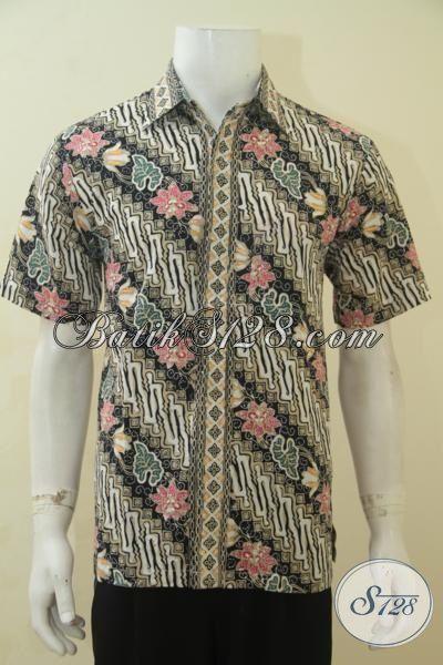 Hem Batik Cap Tulis Motif Parang Bunga, Baju Batik Lengan Pendek Untuk Kerja, Batik Kemeja Pria Bahan Halus Cap Tulis Harga Terjangkau, Size M