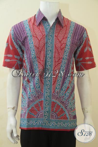 Hem Batik Lengan Pendek Elegan, Baju Batik Warna Cerah Berpadu Motif Mewah Yang Menawan, Cocok Untuk Seragam Kerja, Proses Printing Ukuran M