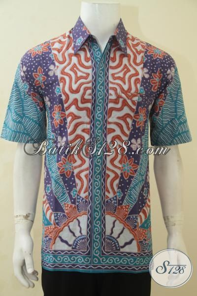 Jual Pakaian Batik Motif Terbaru Proses Printing, Hem Batik Lengan Pendek Motif Klasik Kwalitas Bagus Harga Murmer [LD4528P-L]