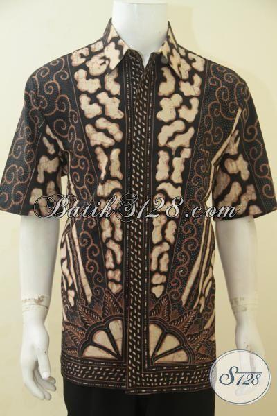 Hem Batik Premium Tulis Tangan Full Furing, Baju Batik Klasik Lengan Pendek Elegan Ukuran Jumbo Buat Rapat Dan Berkelas Untuk Kerja Pria Gemuk, Size XXL
