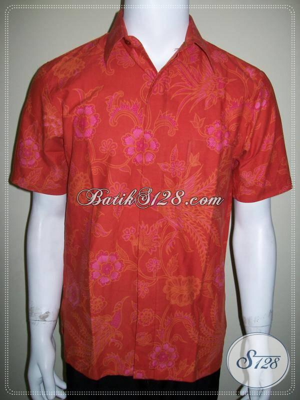 Kemeja Batik Ukuran S Warna Merah, Bahan Katun Halus, Jahitan Rapih