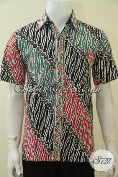 Pakaian Batik Lelaki Masa Kini  Motif Parang Dengan Kombinasi Warna Modis Serta Trendy, Baju Batik Cap Tulis Kwalitas Premium Harga Minimum [LD4582CT-M]