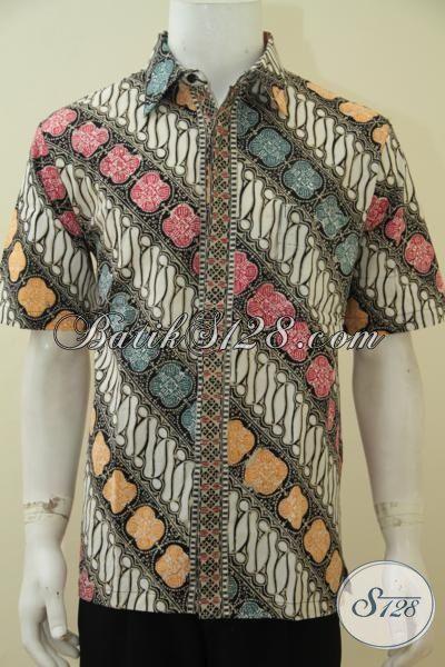 Baju Batik Parang Lengan Pendek Modis Dan Halus, Baju Kerja Elegan Proses Cap Tulis Pria Tampil Macho Dan Keren, Size L