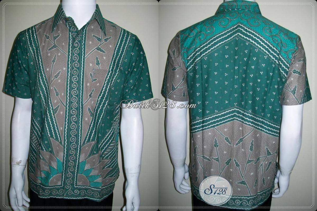 Batik Kerja Kantor Pria Elegan dan Exclusive Warna Hijau, Batik Tulis [LD458T-S]