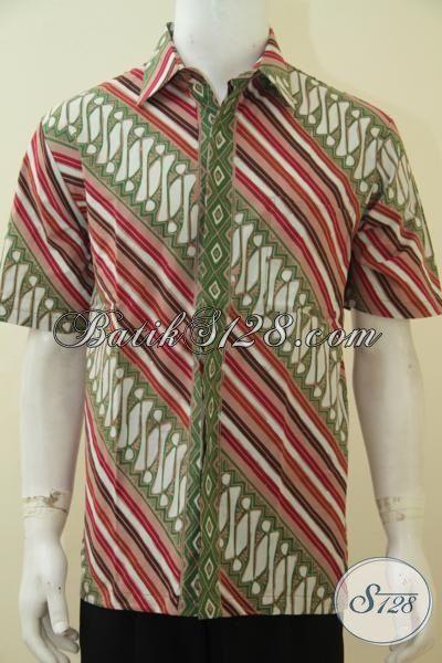 Jual Baju Batik Modern Nuansa Klasik, Pakaian Batik Parang Dengan Warna Trendy Proses Cap Tulis, Bisa Untuk Formal Dan Santai, Size L