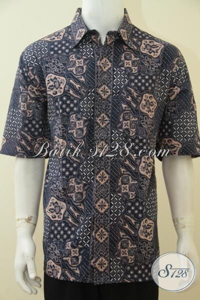 Jual Pakaian Batik Cowok Online Ukuran Jumbo Buat Pria Gemuk, Hem Batik Lengan Pendek Elegan Seragam Kerja Bagus Tampil Modis Dan Gagah, Size XXL