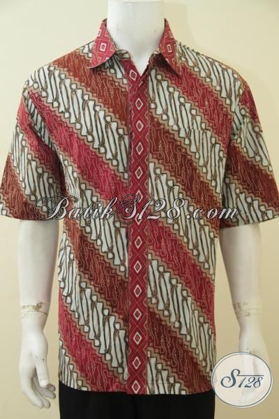 Baju Batik Parang 3L, Busana Batik Cap Tulis Lengan Pendek Di Jual Online, Pakaian Batik Pria Gemuk Tampil Modis Dan Ganteng, Size XXL
