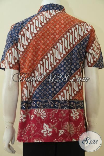 Batik Hem Klasik Kombinasi Dua Motif, Busana Batik Lengan Pendek Warna Keren Proses Cap Tulis Modis Untuk Hangouts, Size S – M