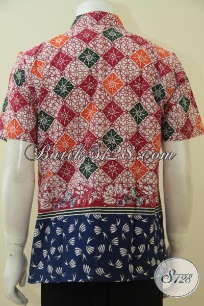 Batik Hem Dua Motif Keren, Busana Batik Kawula Muda Tampil Gaul Dan Kece, Baju Batik Cap Tulis Terbaru Di Jual Online, Size M