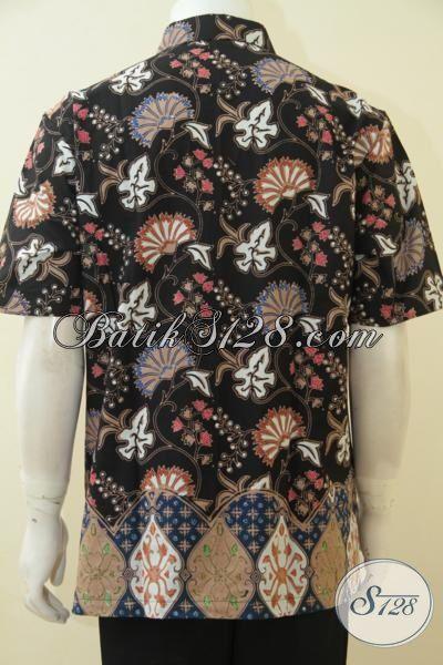 Sedia Kemeja Batik Kombinasi Dua Motif Modern Kesukaan Pria Muda Dan Dewasa Trend Masa Kini, Baju Batik Cap Tulis Lengan Pendek Seragam Kerja Modis Nan Elegan [LD4604CT-L]