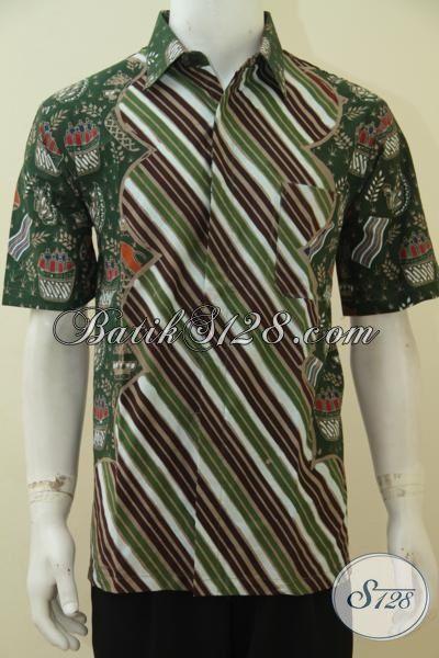 Baju Batik Lebaran Cowok Terkini, Baju Batik Dual Motif Halus Proes Cap Tulis, Hem Batik Lengan Pendek Untuk Pria Lebit Macho Dan Gaul [LD4605CT-L]