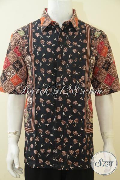 Baju Kemeja Batik Cap Tulis Dual Motif Trend Mode Pakaian Pria Masa Kini, Baju Batik Trendy Halus Adem Cap Tulis Pas Buat Pria Dewasa Tampil Terlihat Muda [LD4608CT-XL]
