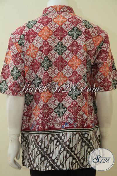 Baju Kerja Keren Banget Untuk Cowok, Berbahan Batik Cap Tulis Dual Motif Halus Dengan Warna Khas Kawula Muda Yang Gaul Bikin Penampilan Makin Kece [LD4609CT-XL]