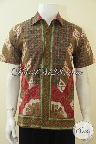 Baju Batik Premium Lengan Pendek  Motif Klasik, Kemeja Batik Elegan Kombinasi Tulis Daleman Full Furing Tampil Mewah Berwibawa, Size M