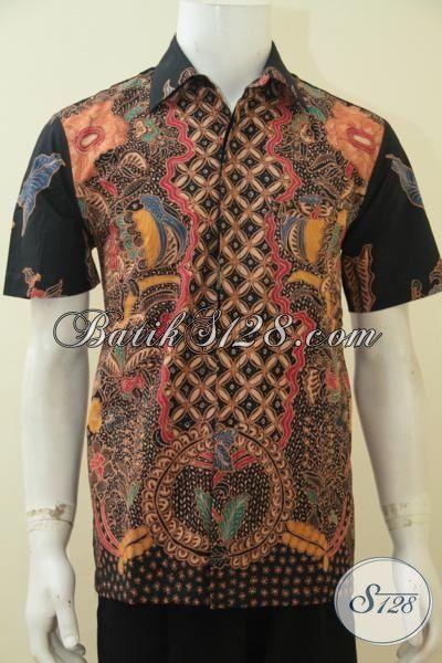Kemeja Batik Mewah Model Lengan Pendek, Pakaian Batik Halus Full Furing Spesial Buat Executive Muda Tampil Makin Bergaya [LD4614TF-M]