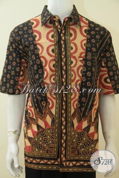 Hem Batik 3L Lengan Pendek Pake Furing, Baju Batik Mewah Untuk Pria Gemuk Motif Klasik Proses Tulis Tangan, Keren Buat Ke Kondangan, Size XXL