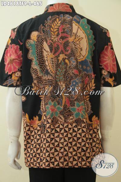 Kemeja Lengan Pendek Premium Bahan Batik Tulis Tangan Motif Mewah, Baju Batik Full Furing Mewah Buat Pesta Dan Elegan Untuk Kerja, Size L