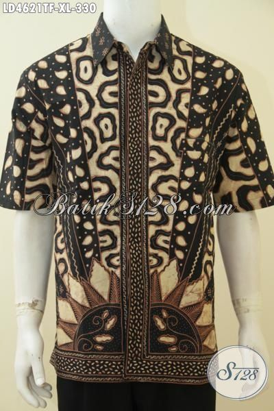 Baju Batik Lengan Pendek Size XL, Pakaian Batik Jawa Modern Full Furing Tampil Mewah Dan Berkelas, Busana Batik Pria Dewasa Proses Tulis Di Jual Online