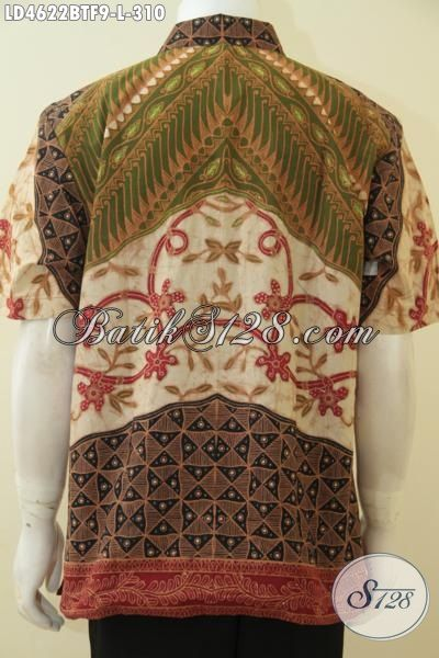 Baju Hem Buatan Solo Indonesia, Busana Batik Lengan Pendek Klasik Kombinasi Tulis Full Furing Motif Elegan Bikin Pria Terlihat Menawan, Size L