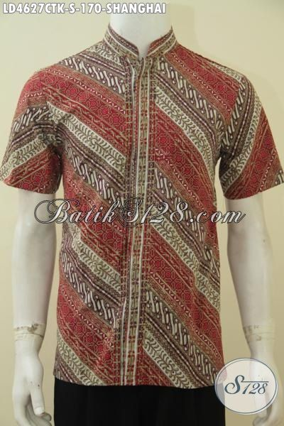 Baju Batik Koko Motif Terbaru, Hem Batik Kerah Shanghai Model Lengan Pendek Trendy Persiapan Lebaran, Size S
