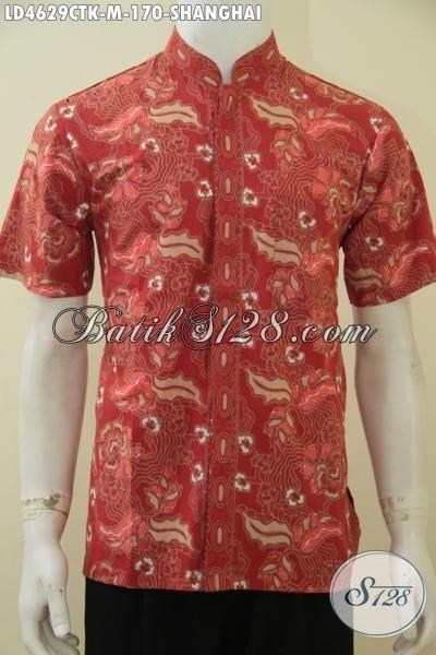Jual Kemeja Batik Koko Warna Merah Motif Keren, Busana Batik Kerah