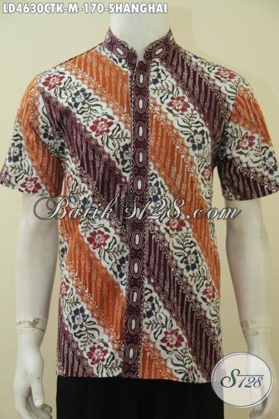 Hem Batik Parang Bunga Model Kerah Shanghai, Busana Batik Santai Buatan Solo, Baju Koko Batik Cap Tulis Cowok Tampil Stylist, Size M