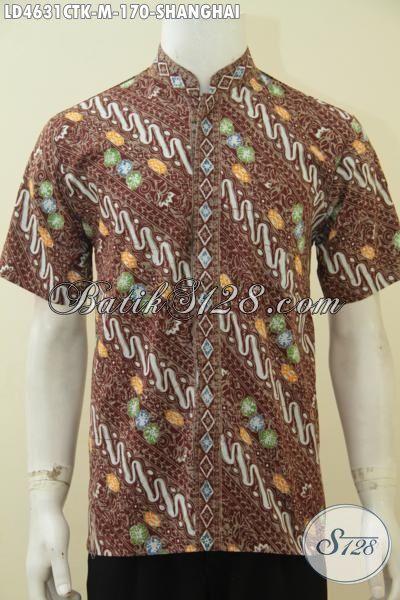 Jual Online Kemeja Batik Pria Model Lengan Pendek Dengan Motif Istimewa Proses Cap Tulis, Baju Batik Koko Kerah Shanghai Buat Pria Muda Tampil Lebioh Stylish, Size M