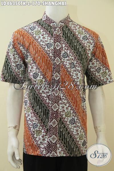 Baju Batik Trendy Model Kerah Shanghai Motif Parang Bunga, Kemeja Batik Koko Warna Keren Lengan Pendek Membuat Lelaki Terlihat Sempurna, Size L