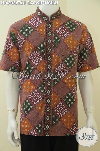 Batik Hem Lengan Pendek Proses Cap Tulis, Baju Santaik Batik Model Kerah Shanghai Dengan Kombinasi Warna Elegan Tampil Makin Menawan, Size L