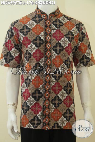 Baju Batik Koko Size L, Kemeja Batik Kerah Shanghai Motif Keren Berpadu Warna Menarik Yang Cocok Buat Pria Tampil Lebih Tampan Dan Bergaya