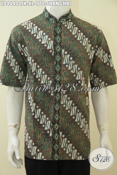 Hem Batik Elegan Motif Parang Model Kerah Shanghai, Baju Batik Muslim Halus Proses Cap Tulis Produk Terbaru Untuk Pria Dewasa Untuk Tampil Makin Modis, Size XL