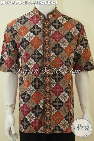 Baju Batik Lebaran Terbaru Model Kerah Shanghai, Busana Batik Muslim Koko Desain Menawan Berbahan Halus Cap Tulis Tampil Keren Sepanjang Hari [LD4643CTK-XL]