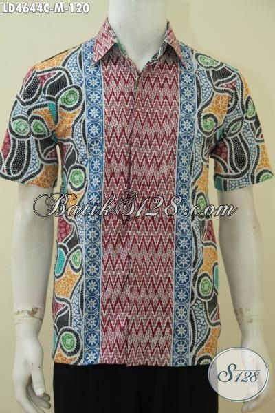 Hem Batik Trendy Kwalitas Halus Motif Modern, Baju Santai Bahan Batik Cap Tampil Makin Stylist [LD4644C-M]
