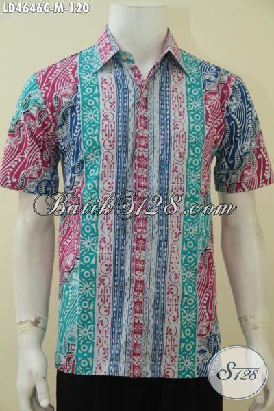 Batik Hem Lengan Pendek Motif Terbaru Lebih Modern Dan Gaul, Jual Online Baju Batik Lengan Pendek Pria Proses Cap Cocok Buat Ke Pesta, Size M