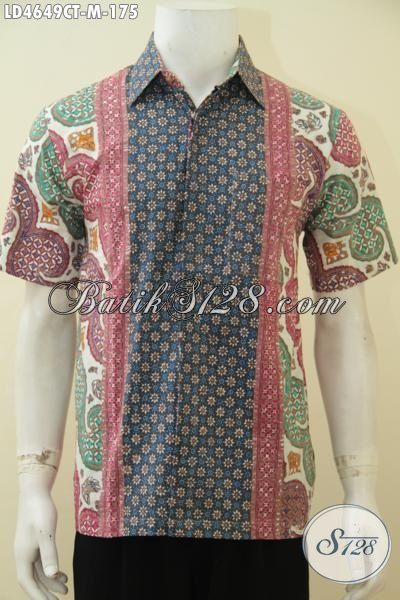 Busana Batik Kerja Lengan Pendek, Hem Batik Motif Kombinasi Trend Masa Kini, Pakaian Batik Modis Kwalitas Istimewa Harga Terjangkau, Size M