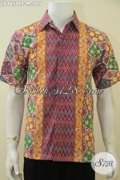 Batik Hem Tiga Motif Proses Cap Tulis, Baju Kerja Batik Modern Produk Terbaru Dari Pengerajin Solo, Baju Batik Model Lengan Pendek Di Jual Online [LD4650CT-M]